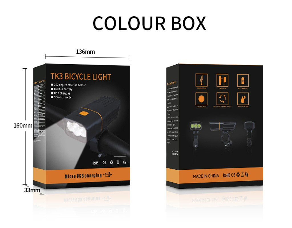 20000LM Waterproof LED Bike Bicycle Light USB Rechargeable Headlight Taillight