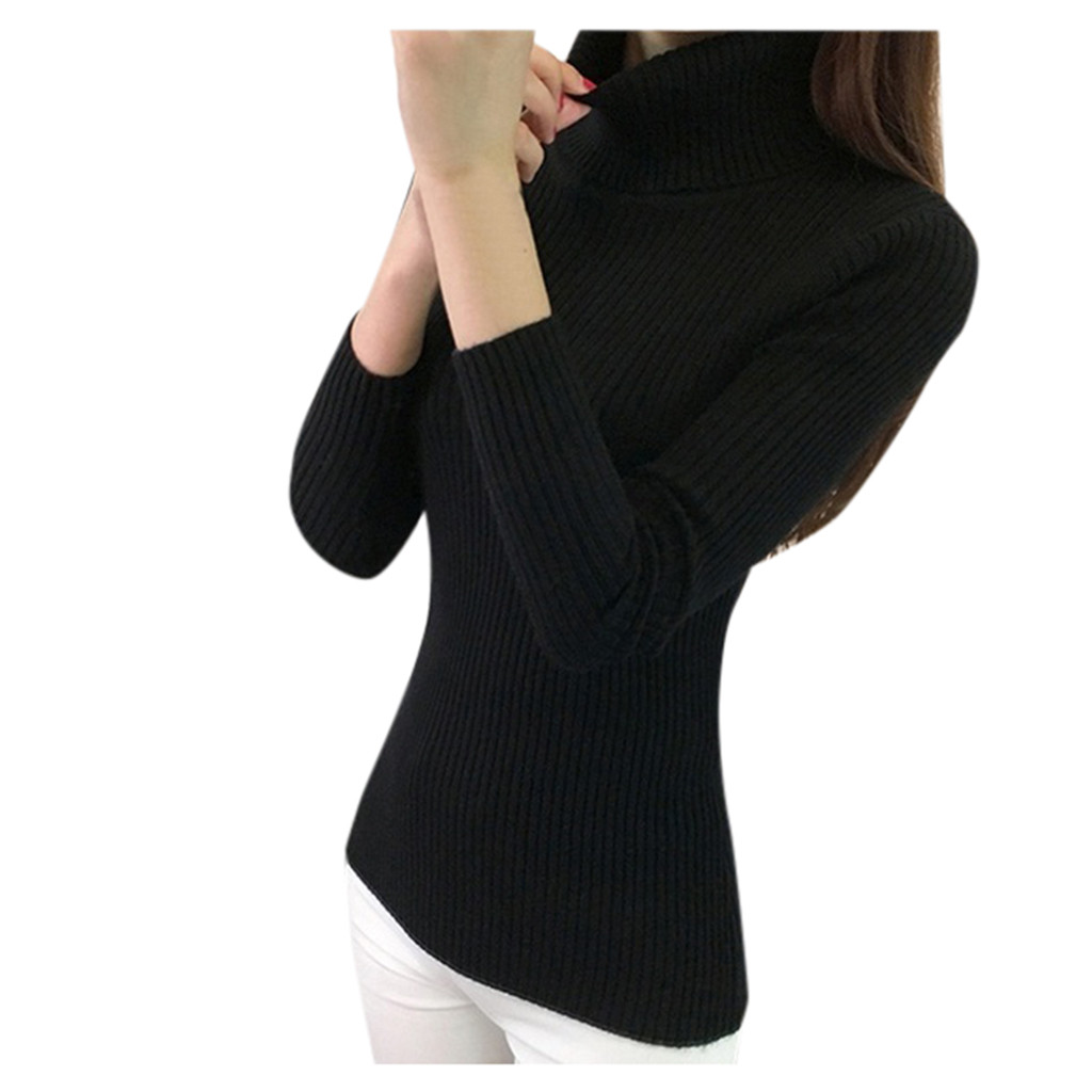 Women-Warm-Knitted-Sweater-Turtleneck-Pullover-Top-Slim-Fit-Long-Sleeve-Winter thumbnail 26