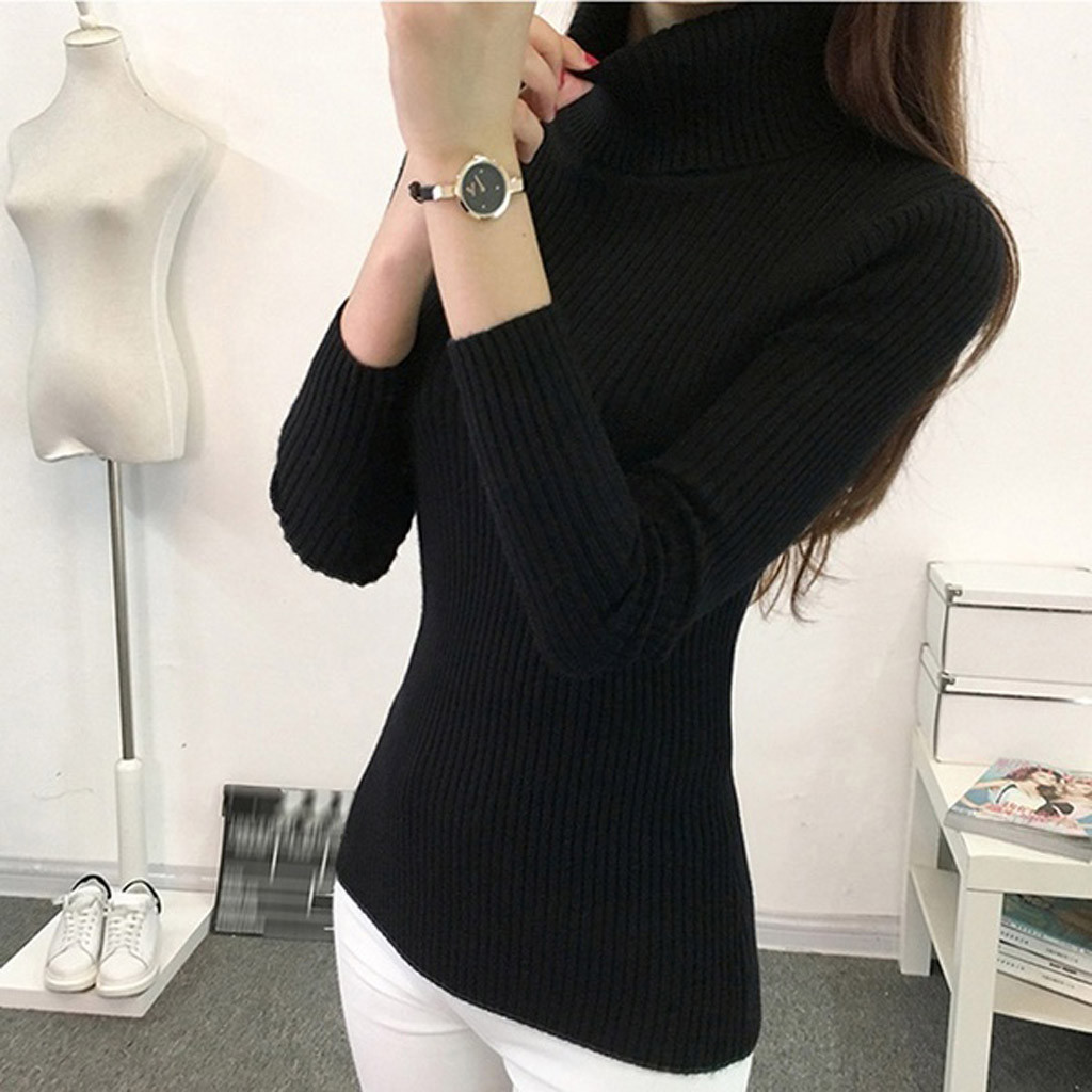 Women-Warm-Knitted-Sweater-Turtleneck-Pullover-Top-Slim-Fit-Long-Sleeve-Winter thumbnail 27