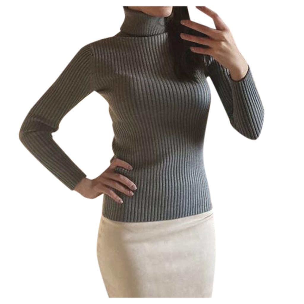 Women-Warm-Knitted-Sweater-Turtleneck-Pullover-Top-Slim-Fit-Long-Sleeve-Winter thumbnail 17