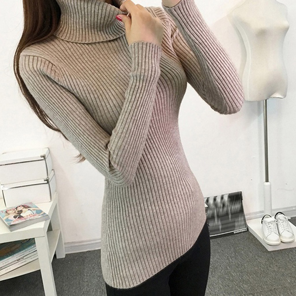 Women-Warm-Knitted-Sweater-Turtleneck-Pullover-Top-Slim-Fit-Long-Sleeve-Winter thumbnail 24