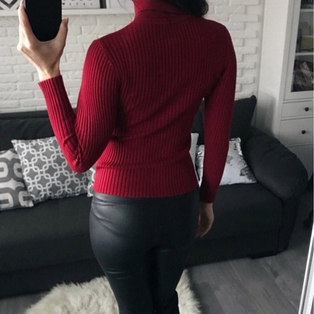 Women-Warm-Knitted-Sweater-Turtleneck-Pullover-Top-Slim-Fit-Long-Sleeve-Winter thumbnail 21