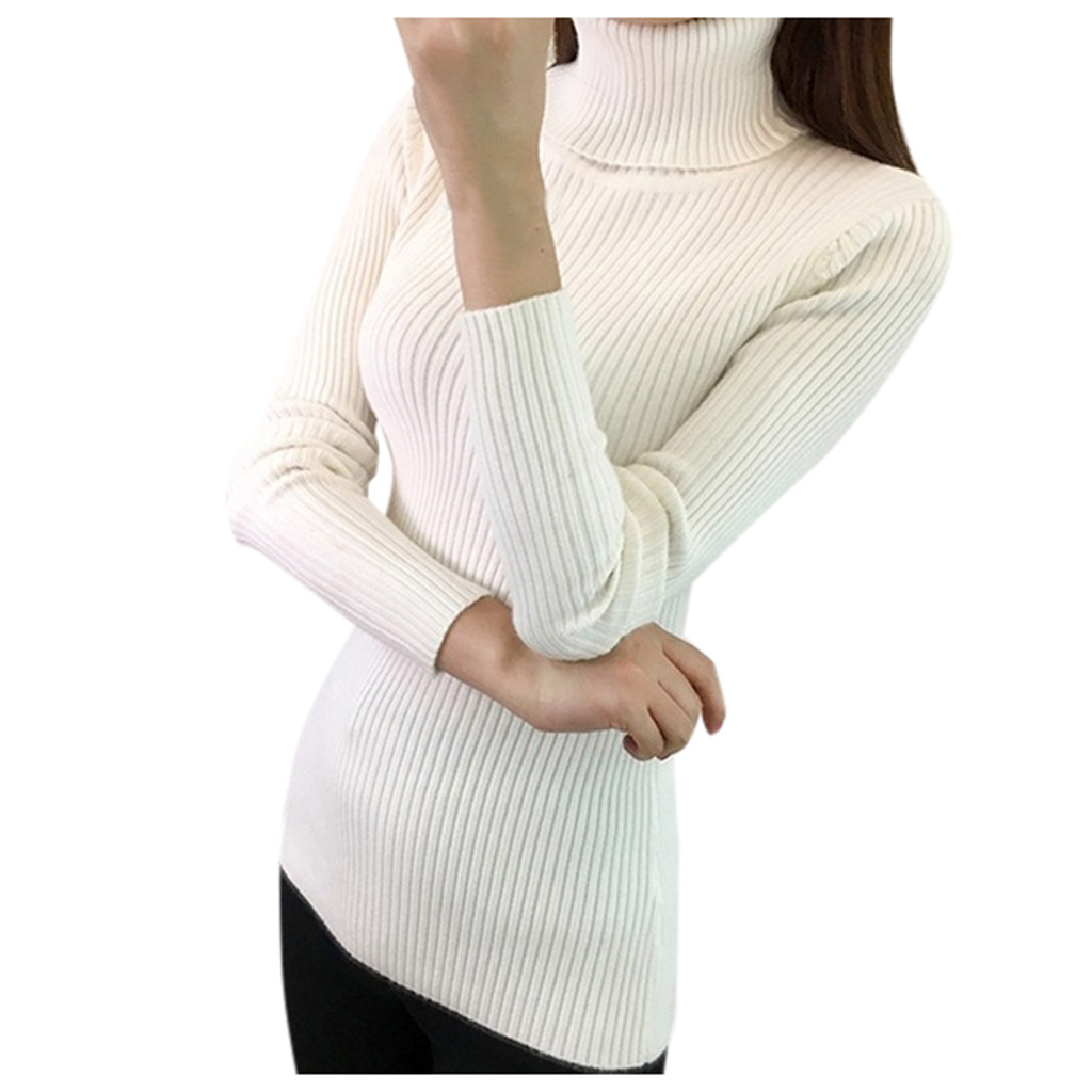 Women-Warm-Knitted-Sweater-Turtleneck-Pullover-Top-Slim-Fit-Long-Sleeve-Winter thumbnail 14