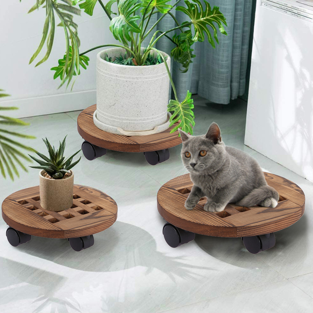 Rolling Wooden Planter Caddy Potted Plant Stand With Wheels Round
