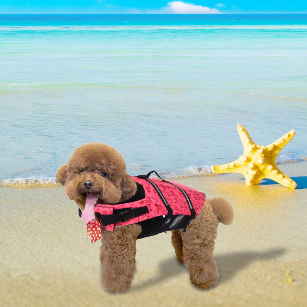 Pet Swimming Safety Vest Dog Life Jacket Reflective Stripe Preserver Puppy US S