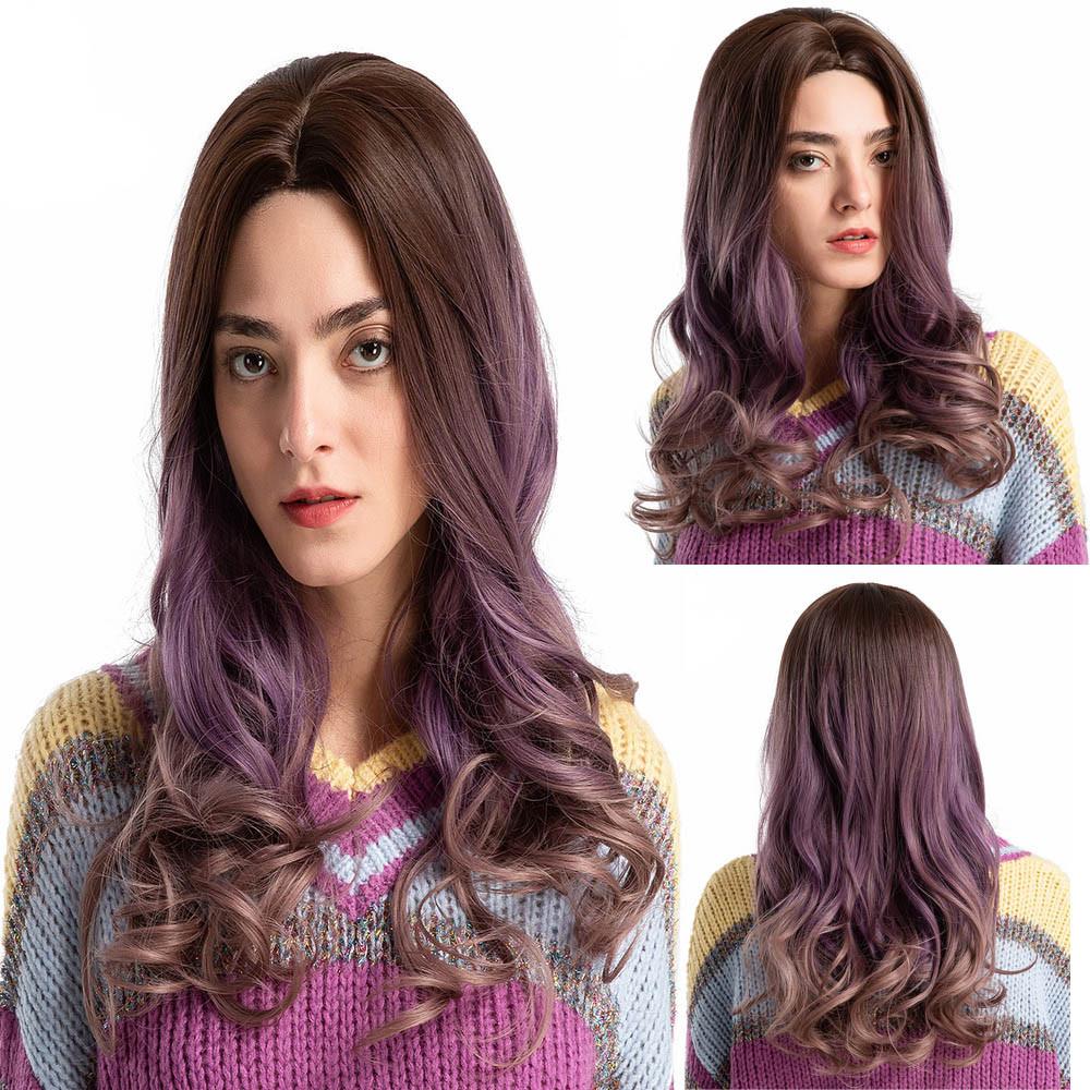 Novel Gradient Purple Long Curly Woman Wig Simulation Hair Wigs  Free Wig Cap