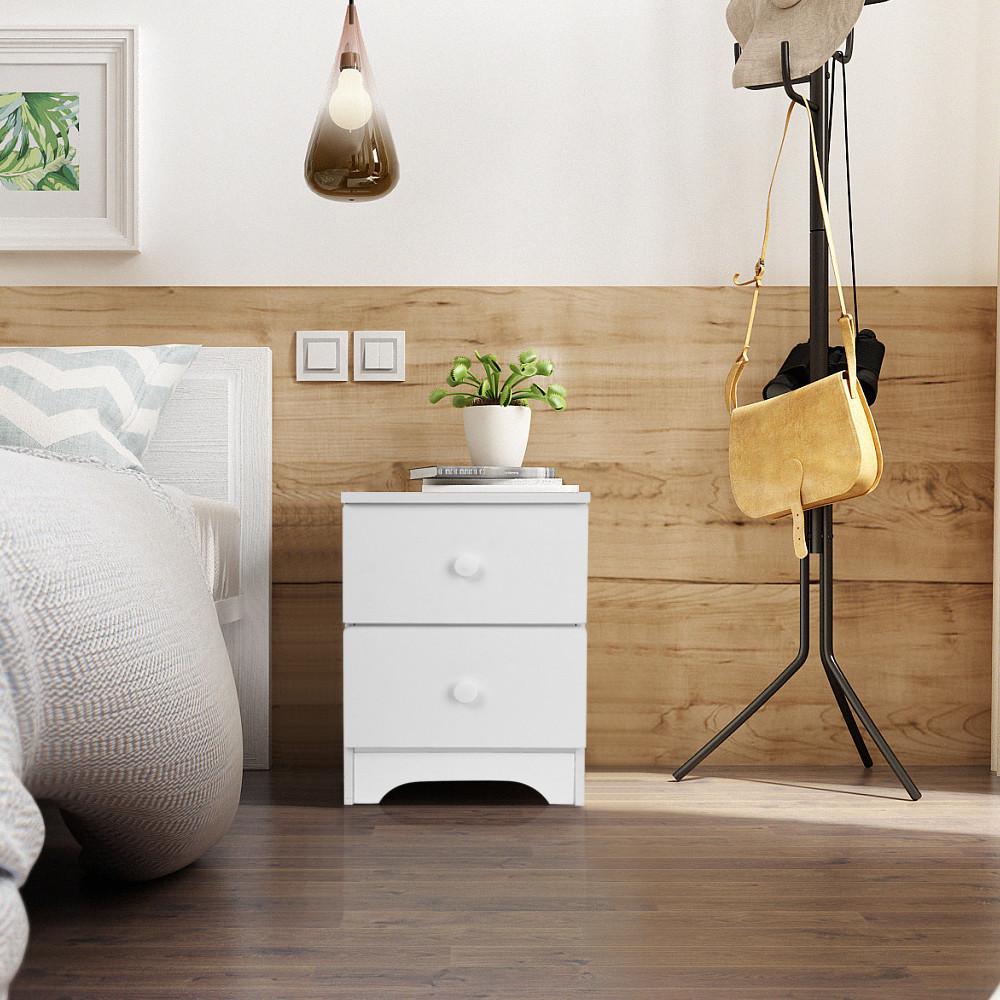 Storage Cabinet Bedroom Bedside Locker Double Drawer Nightstand