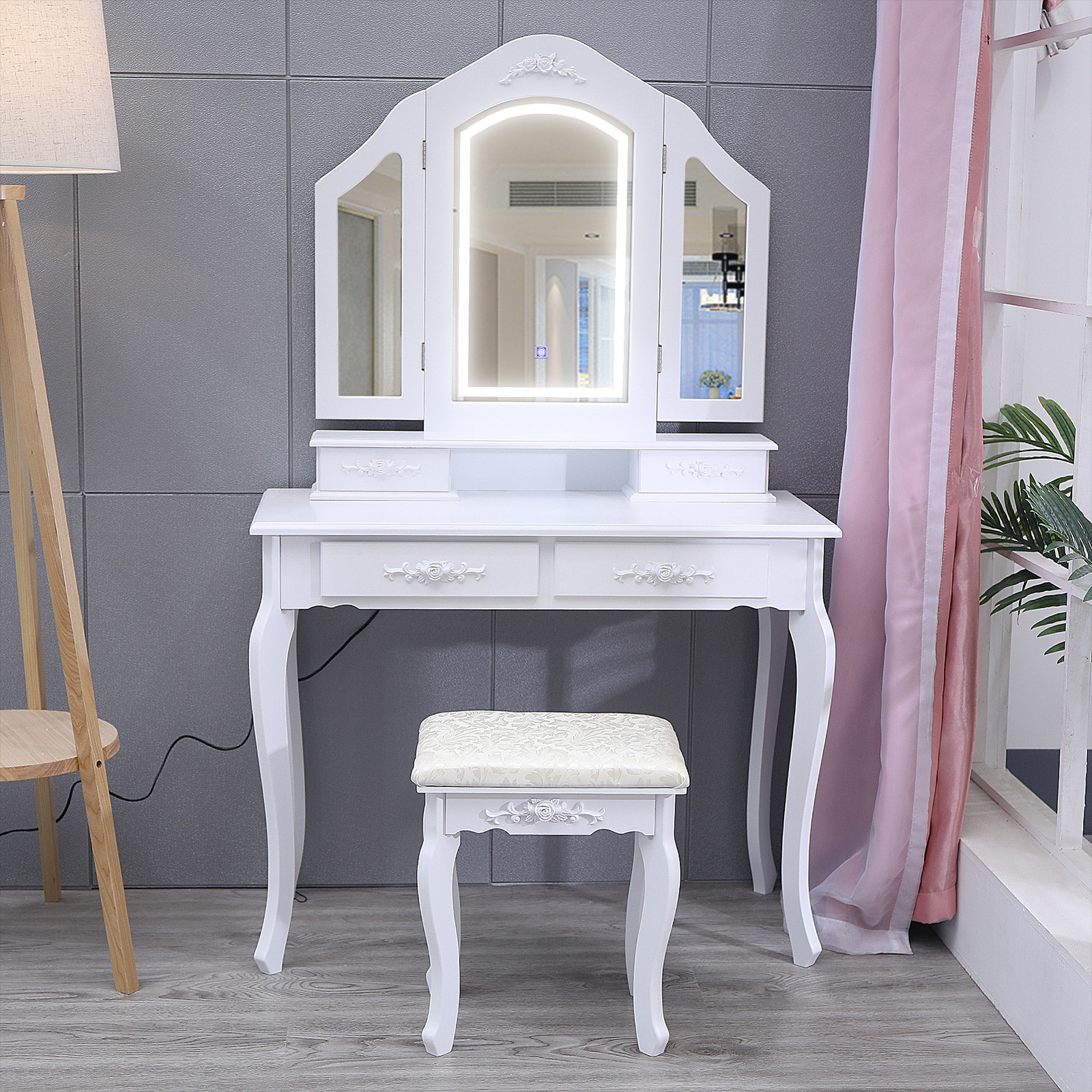 Vanity Beauty Station Makeup Table And Wooden Stool 3 Mirrors With LED Lights