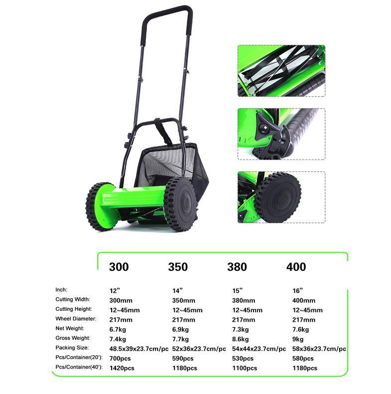 Lawn Mower, 12-Inch, GreenLawn Mower 12-Inch 5-Blade Push Reel