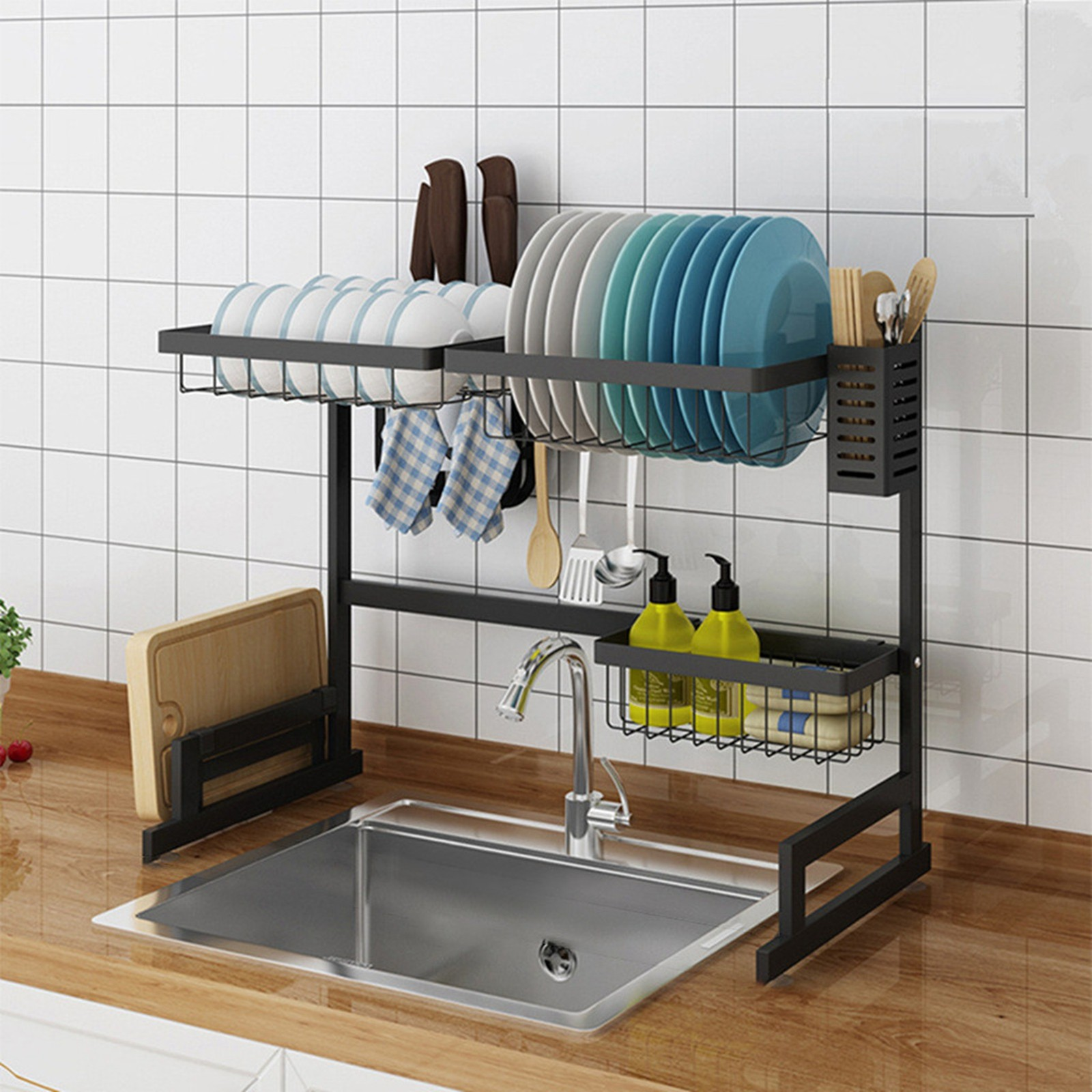 Dish Drying Rack Over Sink Display Drainer Kitchen Utensils Holder US Stock