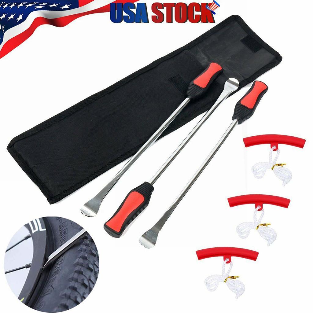 Tire Spoon Lever Iron Tool Motorcycle Bike Tire Change Kit W/ 3Pc Rim Protectors
