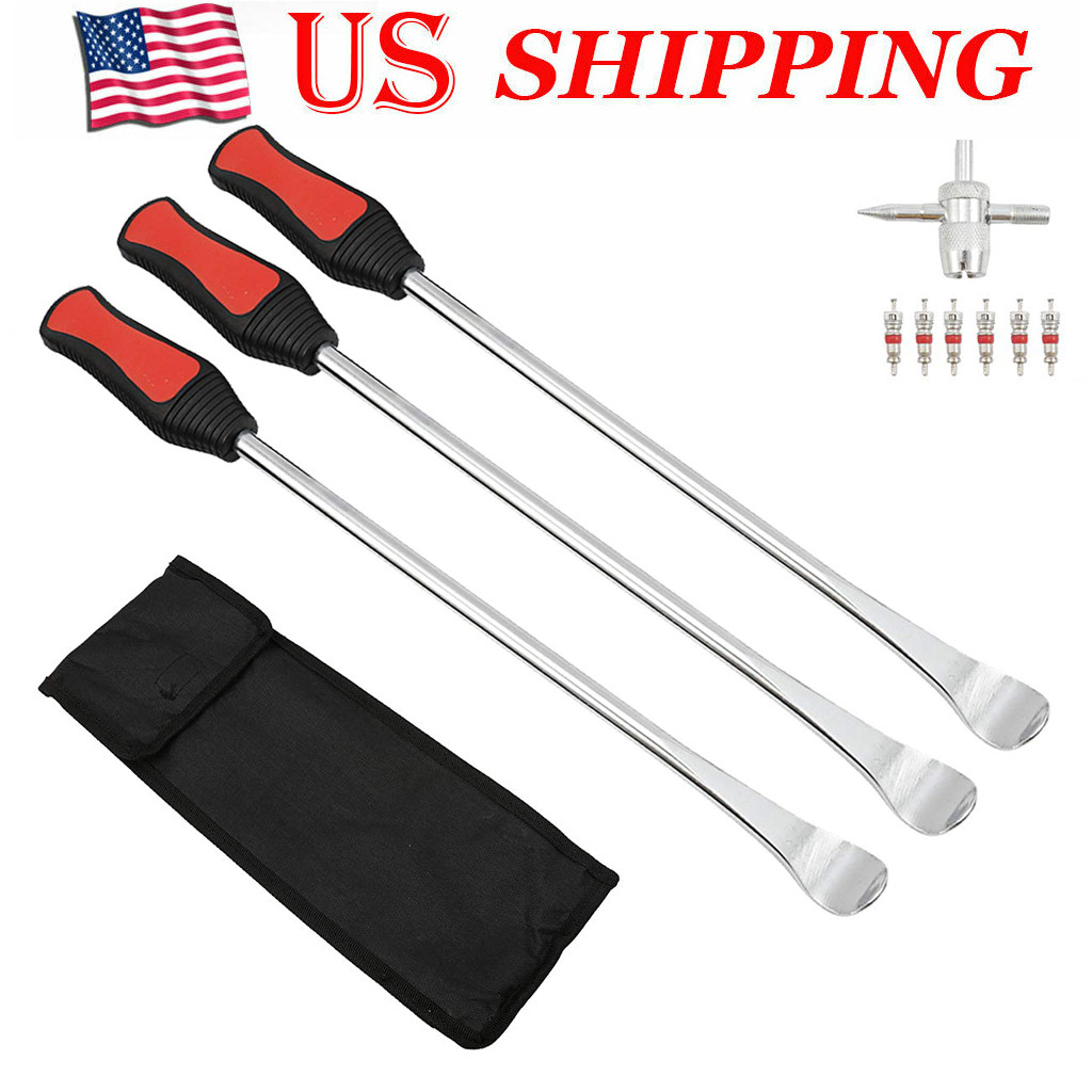 9Pc Motorcycle Bike Tire Spoon Lever Tool Tire Change Kit With 6 Vale Core-s