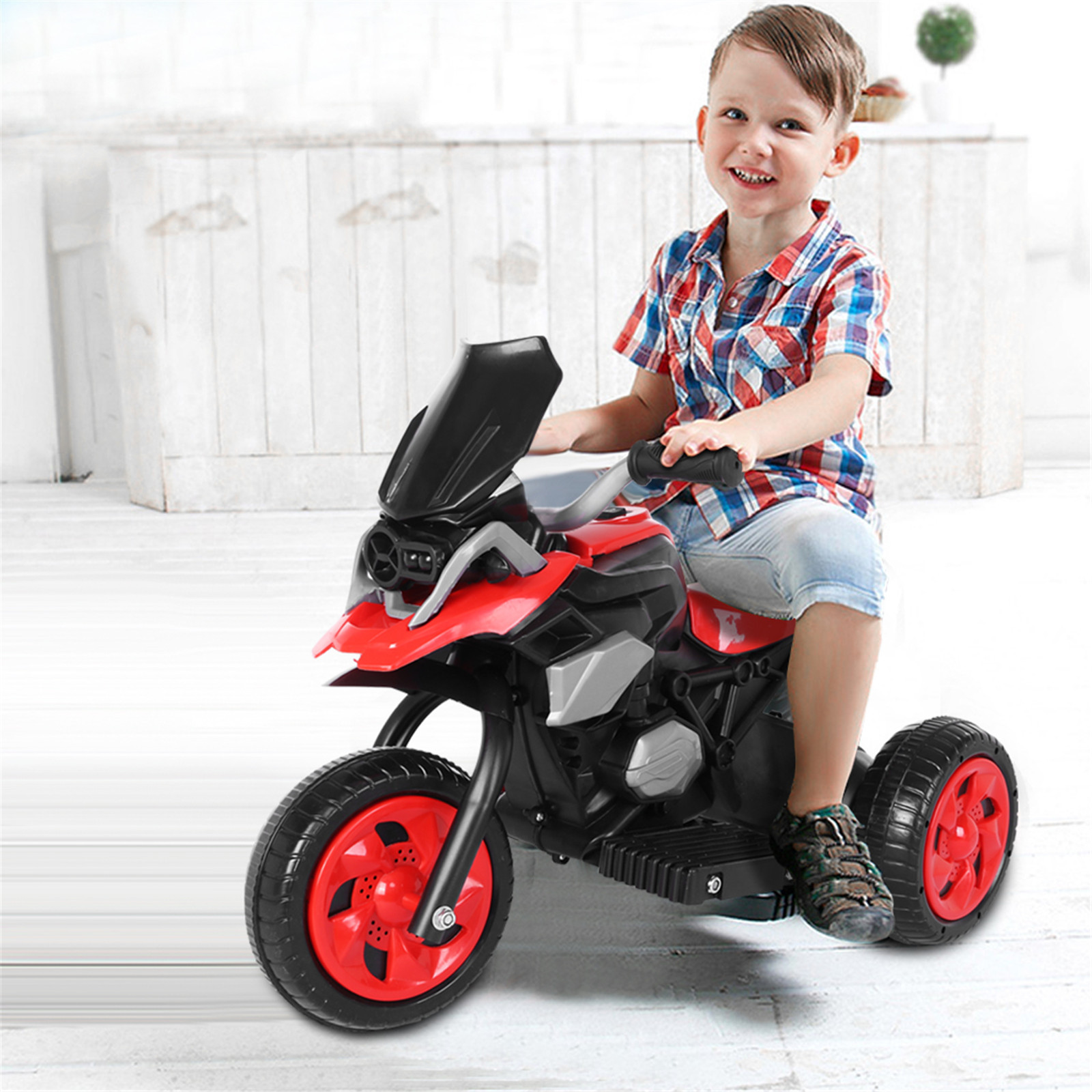 Children Electric Car Ride-On Three Wheel Beach Motorcycle LED Lights Sounds