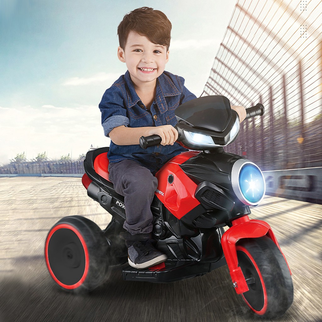 Kids Ride-On Motorcycle 6V Battery Powered Motorcycle Toy Headlights&Music Red
