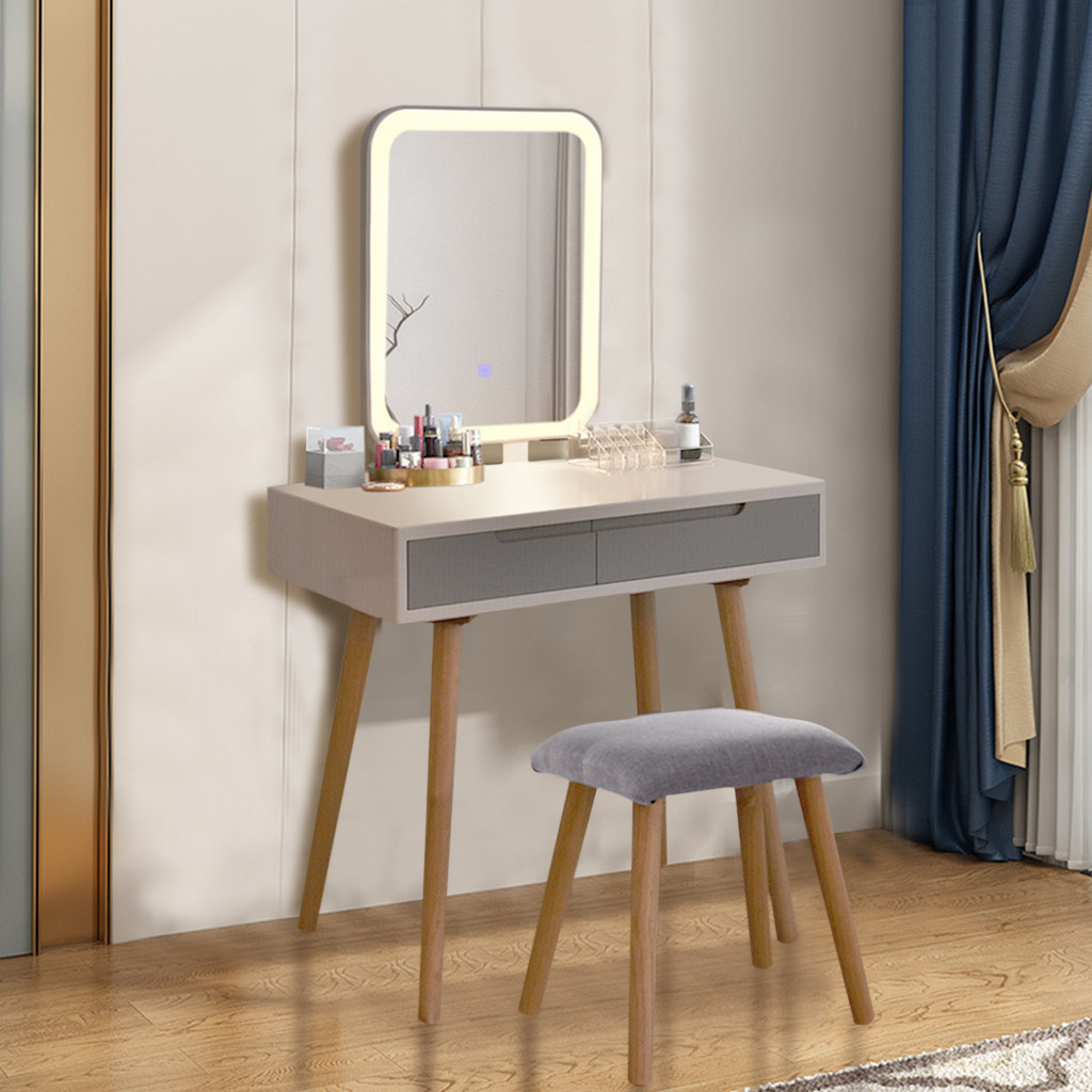 LED Mirror Makeup Vanity Dressing Table Set With Stool Dimmable Vanity Set
