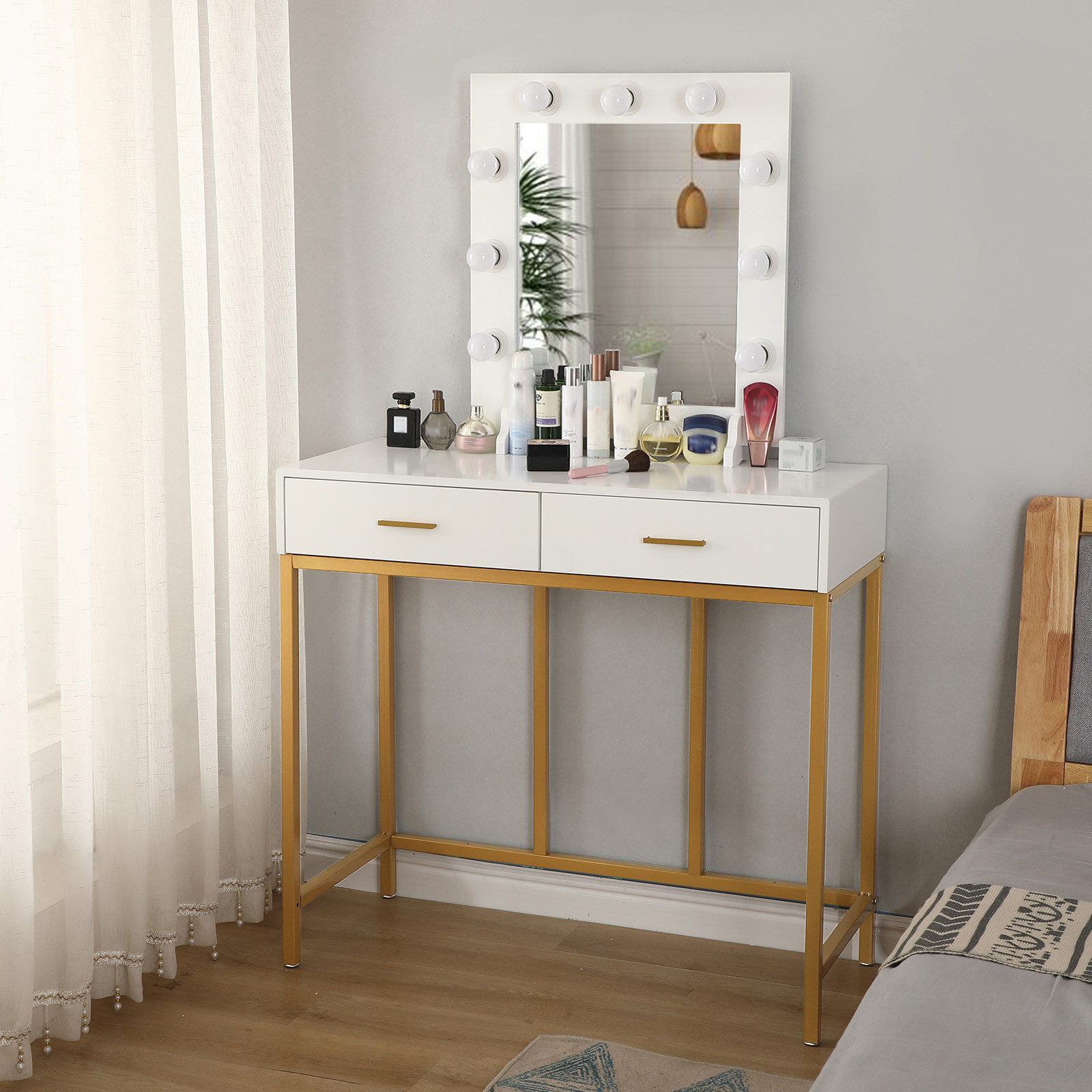 Vanity Table With Lighted Mirror, Makeup Vanity Dressing Table With 9 Lights