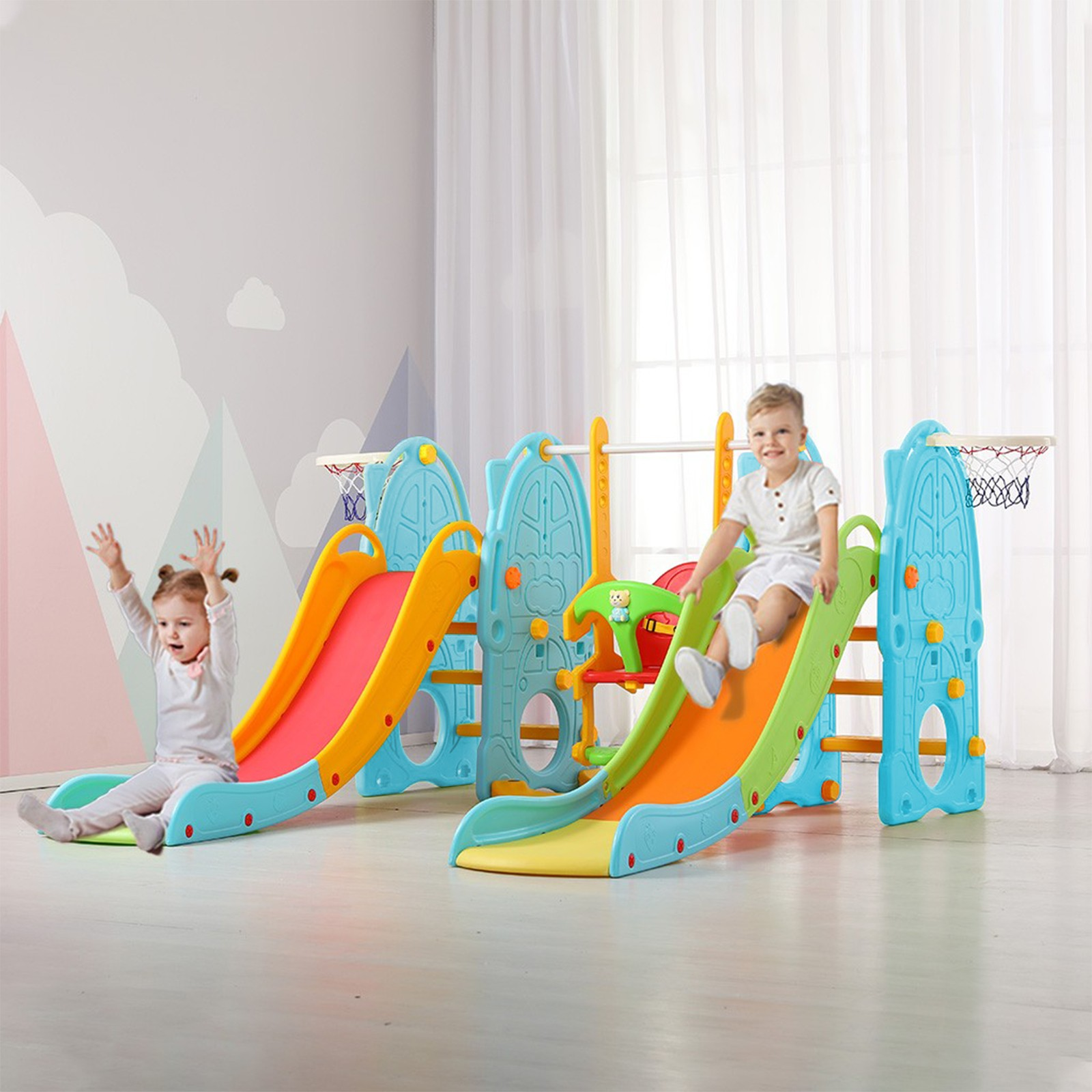 Toddler Climbing And Swing Set,Featuring Double Slides To Throw BasketBall