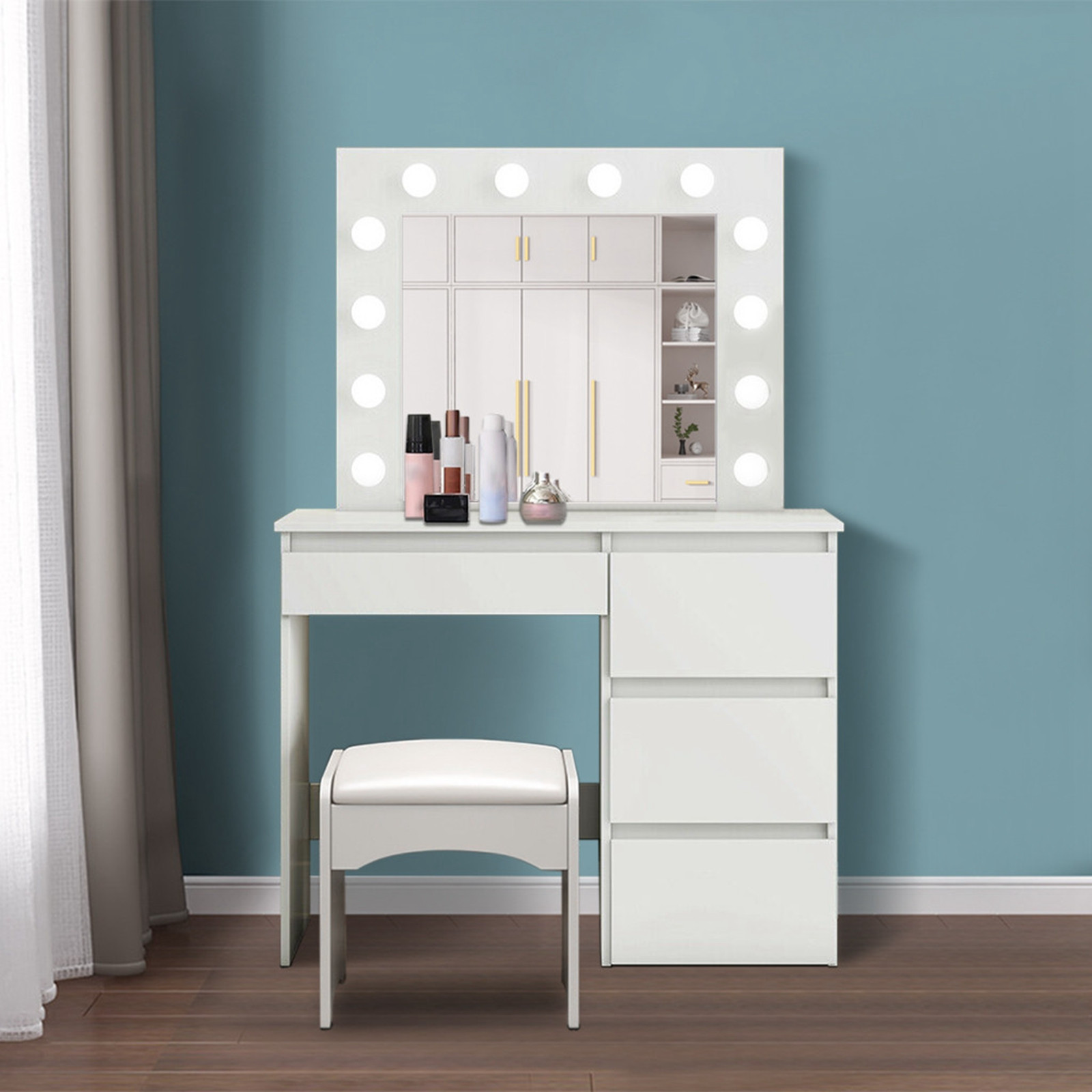 Dimmable LED Vanity Set With Lighted Mirror With Four Drawers Dressing Table