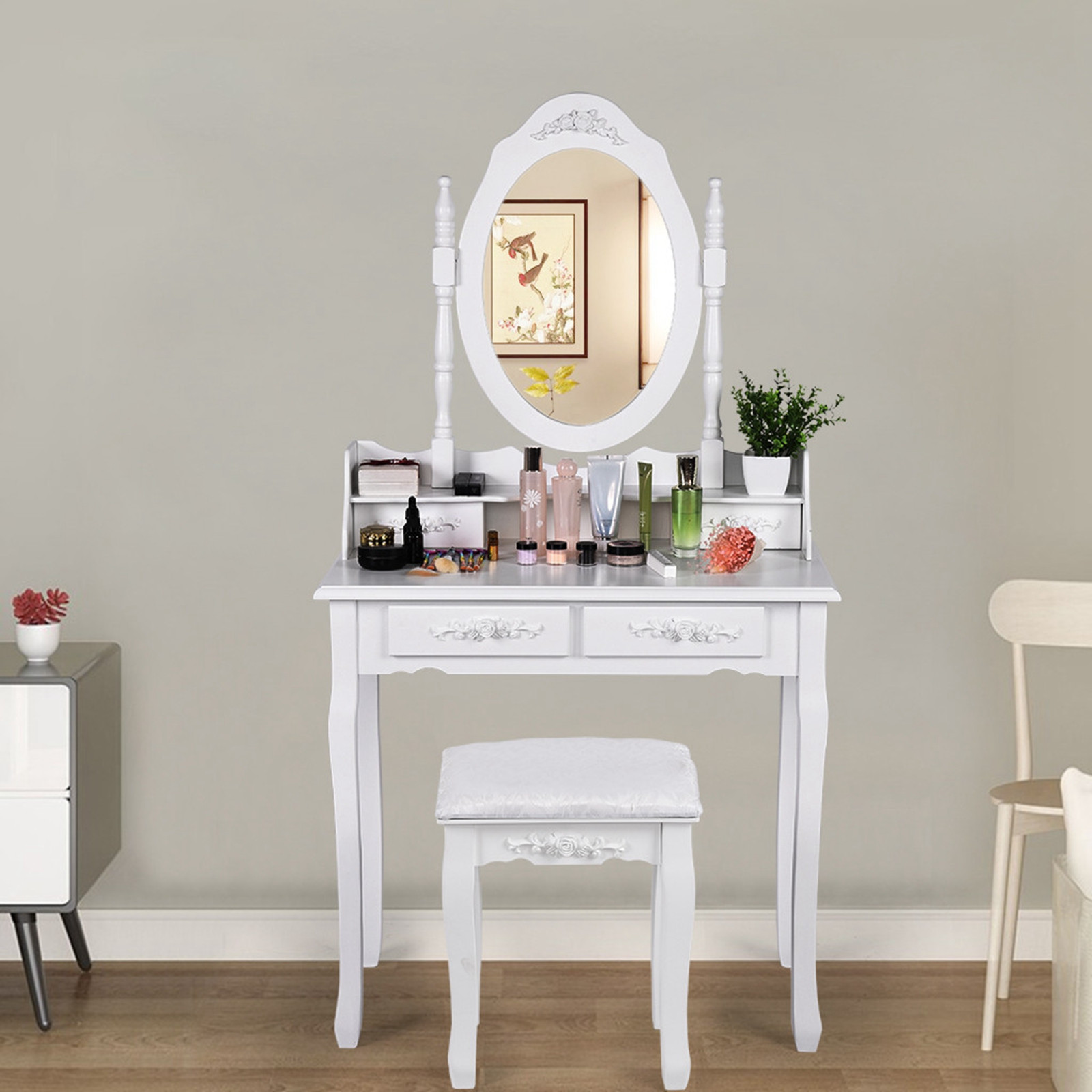Vanity Table Set With Oval Mirror With 4 Drawers Dressing Table Cushioned Stool